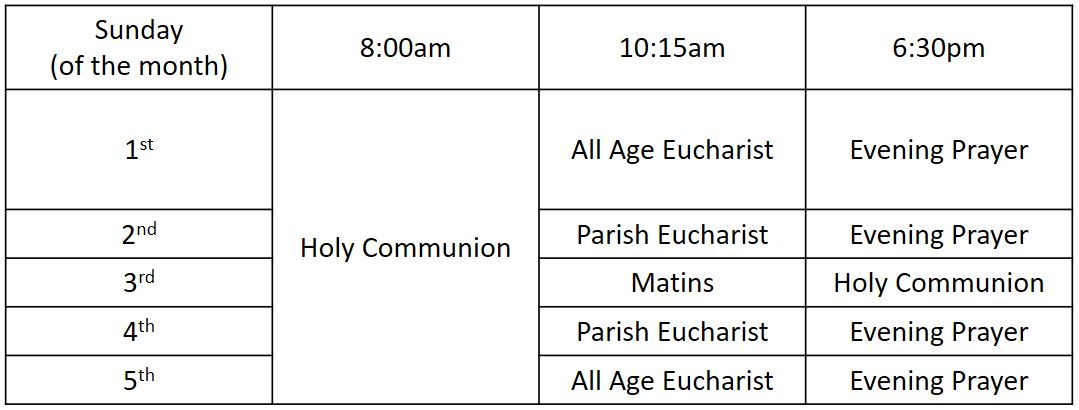 Sunday Services Updated